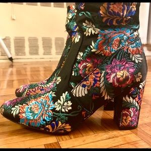Steve Madden floral embroidered booties